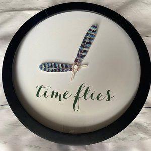 Wall Clock Time Flies Bird Feathers